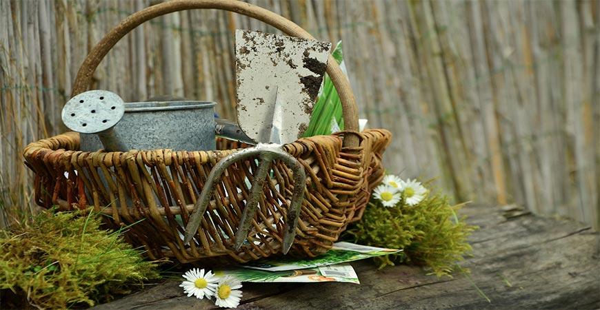gardening tools in wooden basket