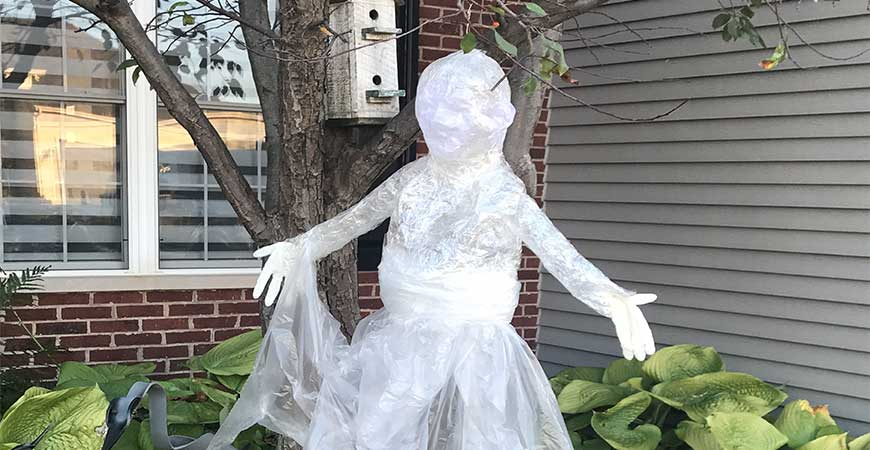 Packing tape ghost in tree
