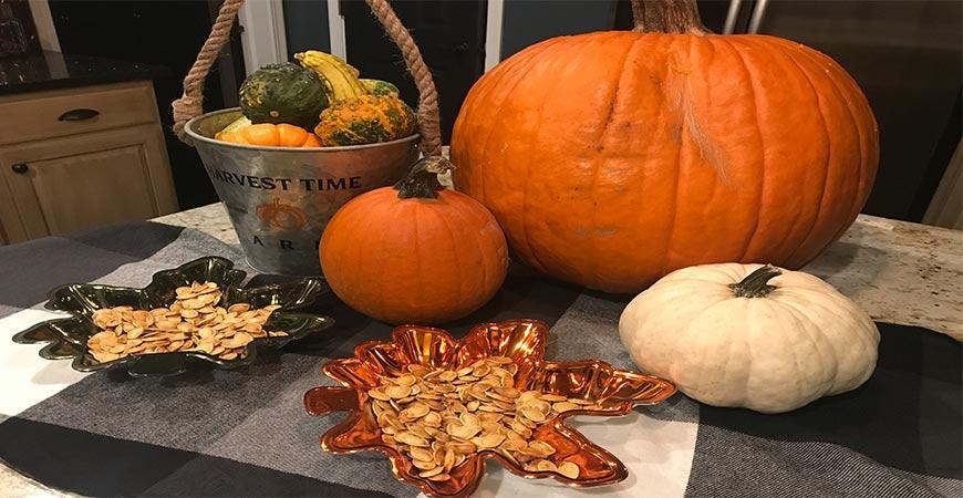 Pumpkin seeds on plaid