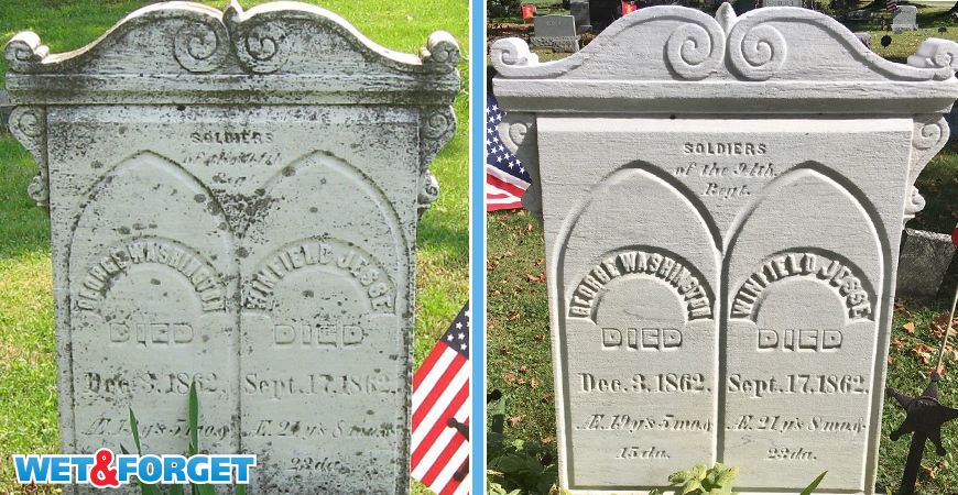 Even George Washington's headstone is clean after using Wet & Forget