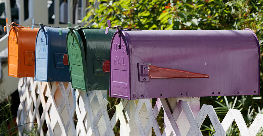 Colorful US mailboxes