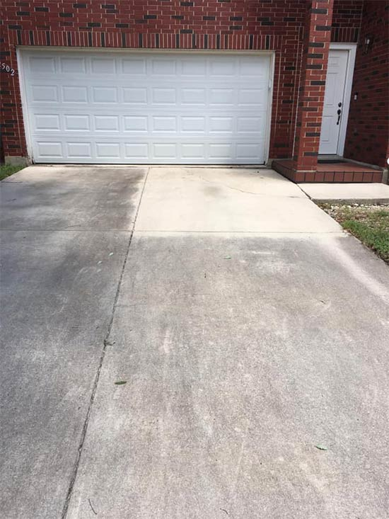 Wet & Forget was applied to the top right corner of this driveway