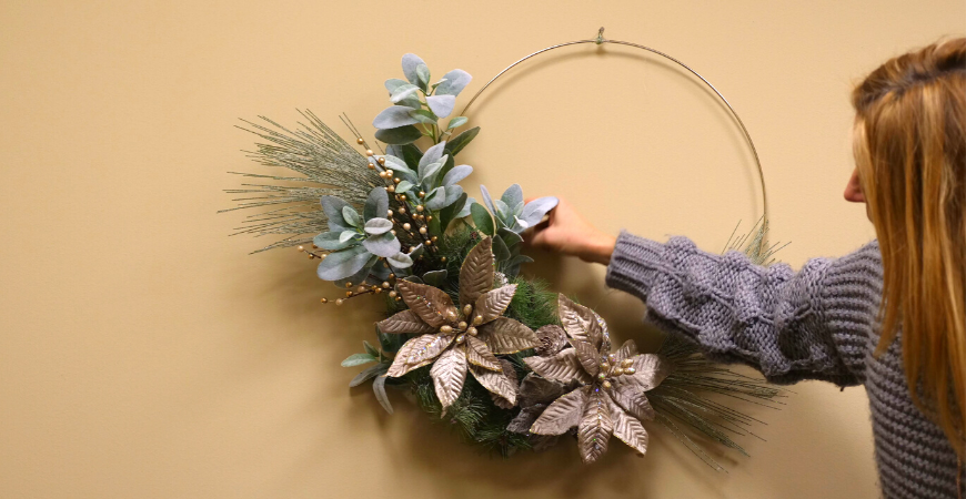 Metal Hoop Wreath Holiday Home Decor Craft
