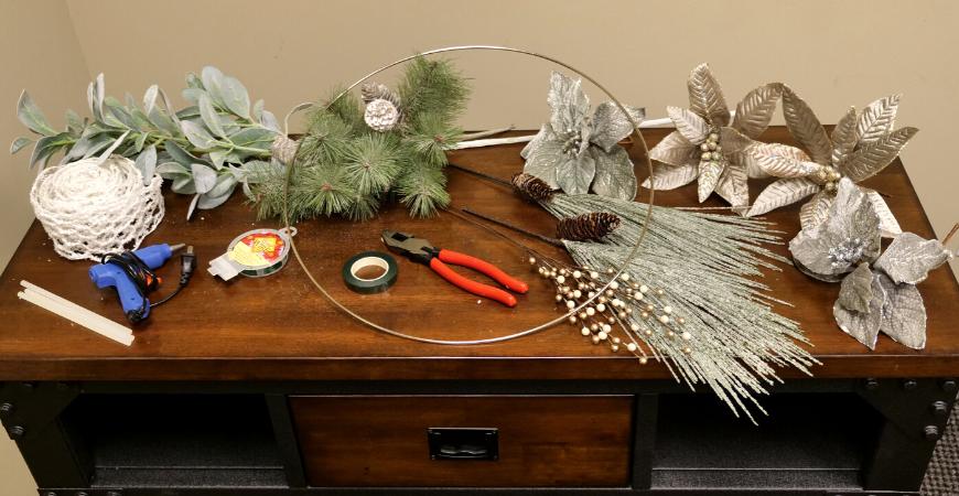 Supplies for DIY Metal Hoop Wreath