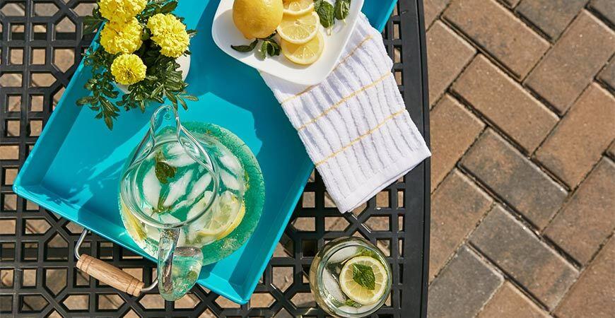 Bright Blue Tray with Lemonade