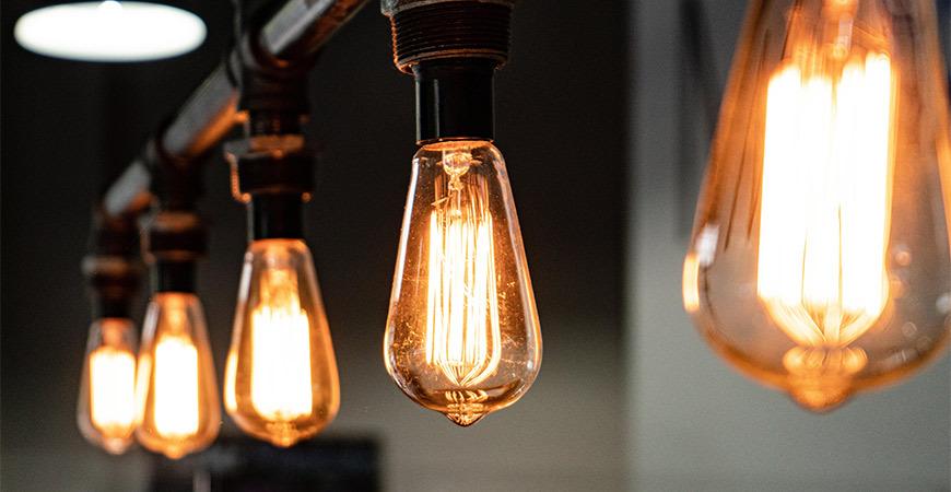 Close Up of Edison Light Bulbs